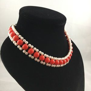 Handmade Bead Necklace Red And White